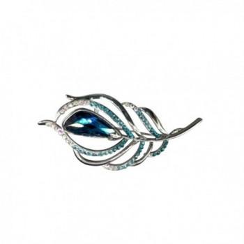 Dazzle Flash Austrian Crystal Elements Leaf Brooches Women Accessory-AGG019 - Blue - CV11Z5IY8X9