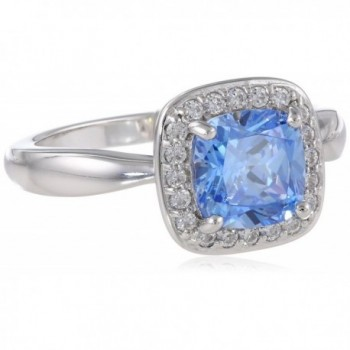"Myia Passiello ""Cushion"" Cut Fancy Blue Swarovski Zirconia Halo Ring - C611EVF5CQT"
