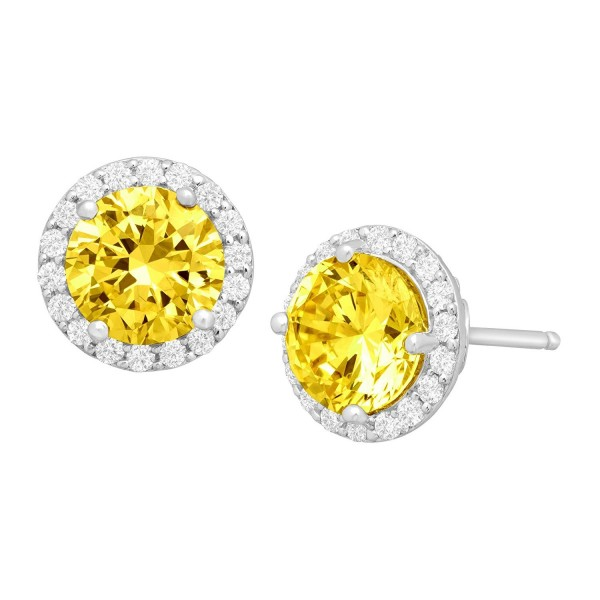 Stud Earrings with Yellow & White Swarovski Zirconia in Sterling Silver - CD126XYAKDT