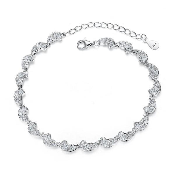 925 Sterling Silver CZ Gorgeous Angel Wings Wedding Bracelet Chain Clear -  CL12E3IAXAV