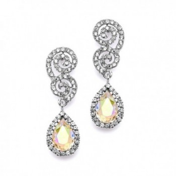 Mariell Crystal Prom- Bridesmaid- Homecoming Earrings with AB Aurora Borealis Pear-Shaped Teardrops - CX12H3L3FTN