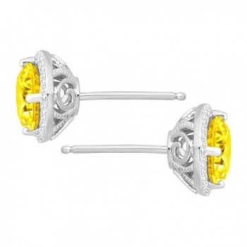 Earrings Yellow Swarovski Zirconia Sterling in Women's Stud Earrings