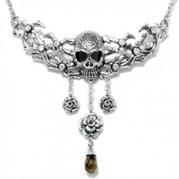 "Controse Women's Antiique Silver-Toned Stainless Steel Skull and Roses Necklace 15"" - 17"" Adjustable - CR12GK5CJC7"
