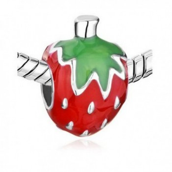 Athena Jewelry Sweet Strawberry Charm Bead Enamel - CL11LMMPJ5D
