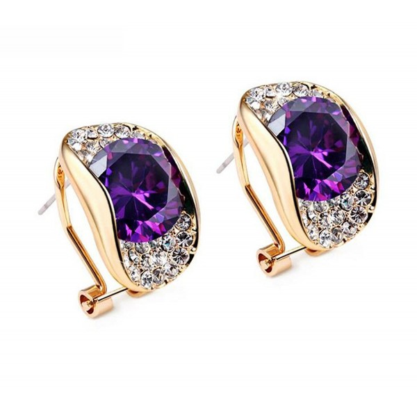 Modogirl Latest Temperament Geometric Stud Earrings for Women Purple - C511XFSDIAT