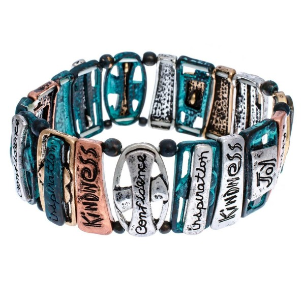 PammyJ Tri-Tone Inspirational Words with Patina Finish Stretch Bracelet - C511YMAZ3YX