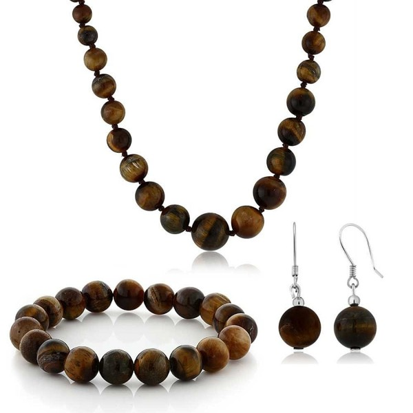 10mm Tiger Eye Brown Color Cross Cut Bead Necklace Bracelet and Earrings Set - CF1180MWKOB