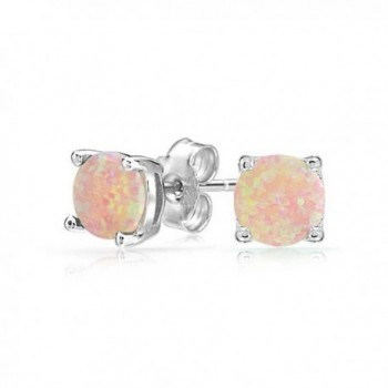 Bling Jewelry Round Simulated Pink Opal Stud earrings 925 Sterling Silver 6mm - CV11FFIUP2R