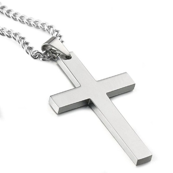 Azury Stainless Steel Cross Pendant Chain Necklace for Men Women Unisex- 22 Inches - CH1882WWK4N