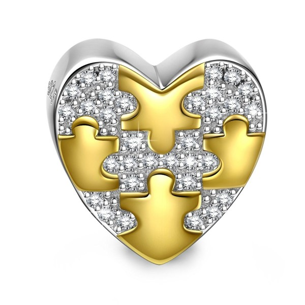"""NinaQueen """"Soulmate"""" 925 Sterling Silver Puzzle Pattern Heart Bead Charms - C217Z00W8ZL"""