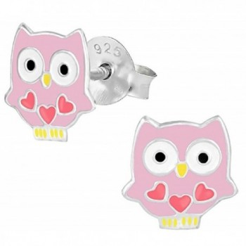 "Pro Jewelry .925 Sterling Silver ""Pink Owl"" Stud Earrings for Children & Women 1464 ES APS - CI11JB88YZR"