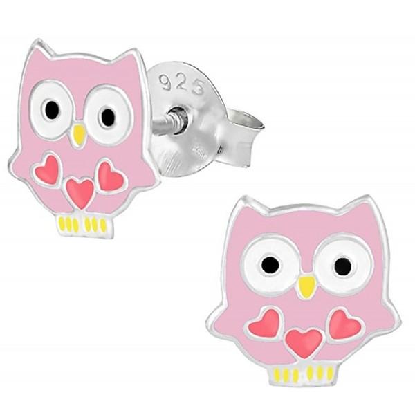 """Pro Jewelry .925 Sterling Silver """"Pink Owl"""" Stud Earrings for Children & Women 1464 ES APS - CI11JB88YZR"""