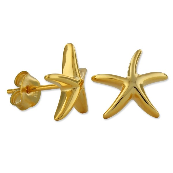 14kt Yellow Gold Plated Sterling Silver Starfish Stud Earrings - C911ND0AL1D