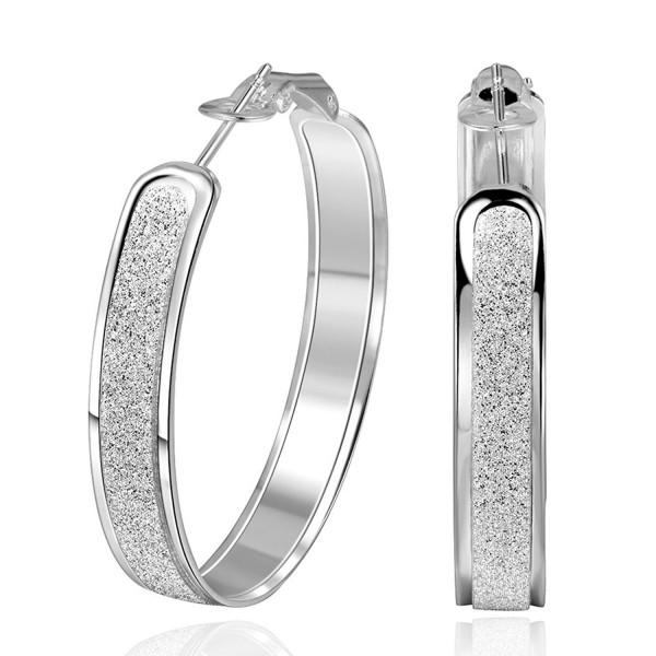 SUNGULF Sterling Silver Glitter-Patterned Hoop Earring Jewelry for Women - C512M12IUHL