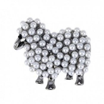 Alilang Gun Metal Tone Faux Pearl White Sheep Lamb Goat Brooch Pin - C1113T2EPFJ