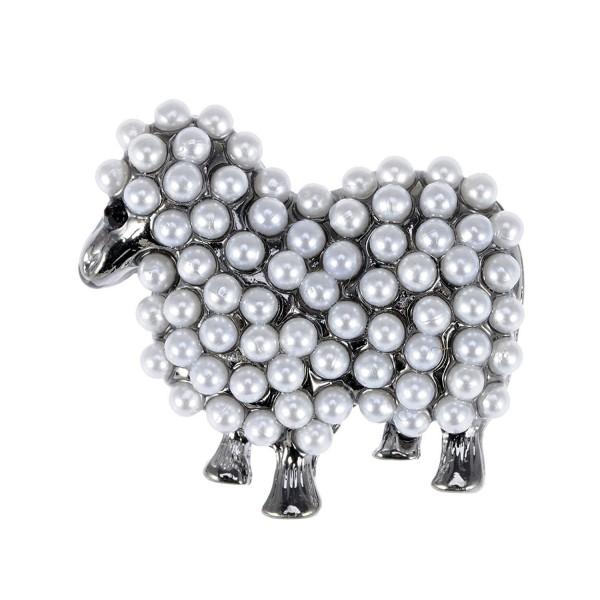 Alilang Gun Metal Tone Faux Pearl White Sheep Lamb Goat Brooch Pin - C1113T2EPFJ