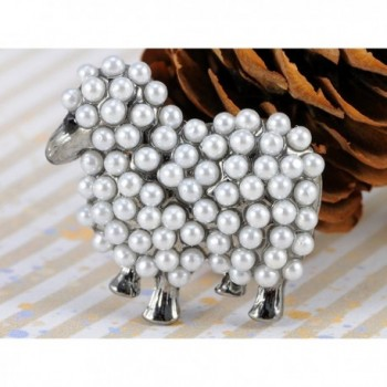 Alilang Metal Pearl White Brooch