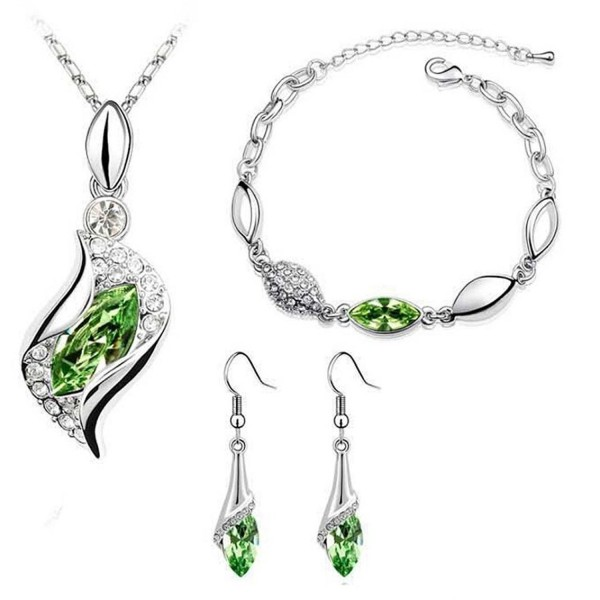 Susenstone 1Set Women Necklace Pendant Drop Earrings Bracelet - Green - CB12FWCKYLR