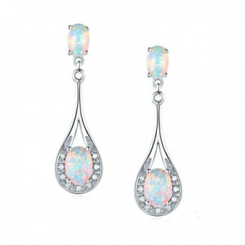 White Created Opal Drop Earring Classic Style for Women Girls Hypoallergenic - white-gold-plated - C7189I6NMNZ
