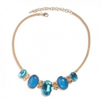 Blue Chroma Glass Goldtone Necklace 18-20 in - CH183EWYSS5