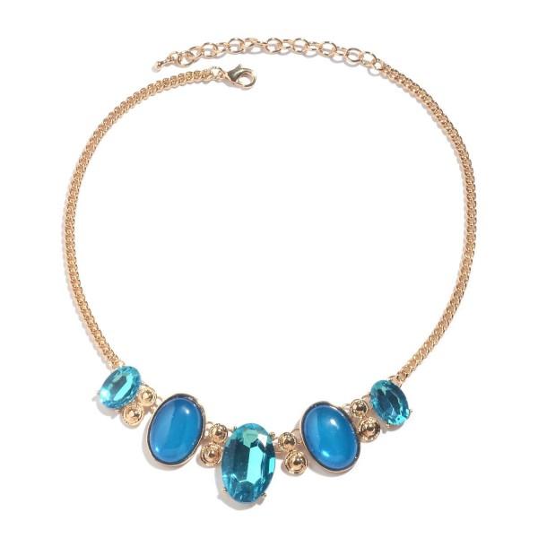Blue Chroma Glass Goldtone Necklace 18-20 in - CH183EWYSS5