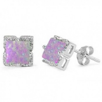 Lab Created White Opal Square Stud .925 Sterling Silver Earring - Pink Opal - CO12DLOXDJ3