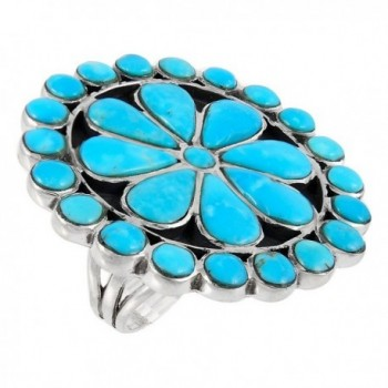 925 Sterling Silver & Genuine Turquoise Ring (Size 5 to 12) Statement Ring - CK11YP413DH