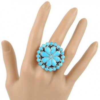 Sterling Silver Genuine Turquoise Sizes in Women's Statement Rings