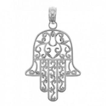 925 Sterling Silver Jewish Hamesh Hand Filigree Charm Hamsa Pendant - CJ119ILEV0T