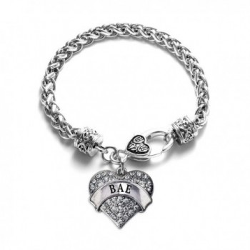 Bae Pave Heart Charm Bracelet Silver Plated Lobster Clasp Clear Crystal Charm - CW123HAY4K7