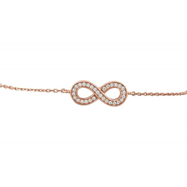 Sterling Silver Rose Gold Tone Infinity Bracelet with Simulated Diamonds - 7.5 inch - CS12O229N5V
