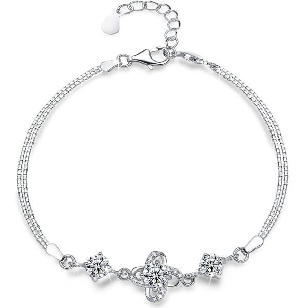 Sterling Silver Charm Bracelet-Four Leaf Clover with Presentski Diamond Charm Bracelet - White - CV185ZLGDXI