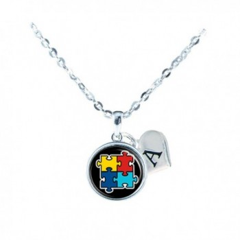 Custom Autism Awareness Black Silver Necklace Jewelry Initial Family Charm Gift - CH12N1CIGNW