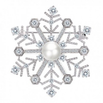 EleQueen Women's Silver-tone CZ White Simulated Pearl Winter Snowflake Bridal Brooch Pendant Clear - CF187I4LG42
