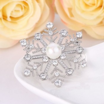 EleQueen Silver tone Simulated Snowflake Pendant in Women's Brooches & Pins