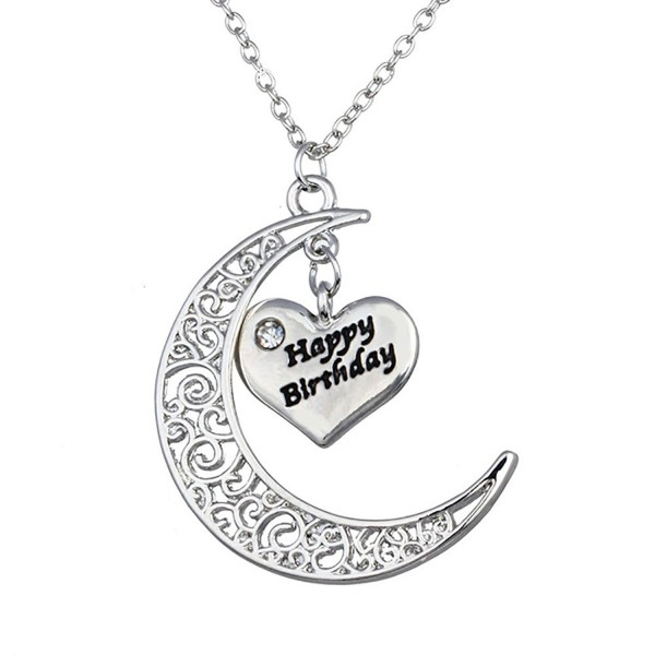 Bling Stars Moon and Heart Two-Piece Pendant Necklace Gift for Mom/Dad/Family Members - happy Birthday - C312F6KTNPN