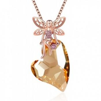 XZP Fairy on Heart Pendant Women Necklace Angel Princess Topaz Necklace gift with Swarovski Heart Crystal - CF180KMM652