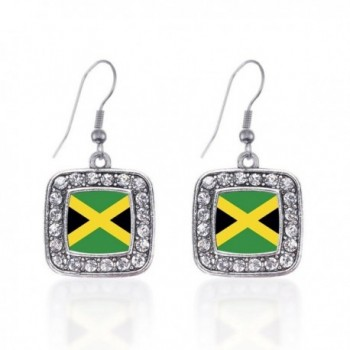 Inspired Silver Jamaican Flag Classic Charm Earrings Square French Hook Clear Crystal Rhinestones - CS124J2S841