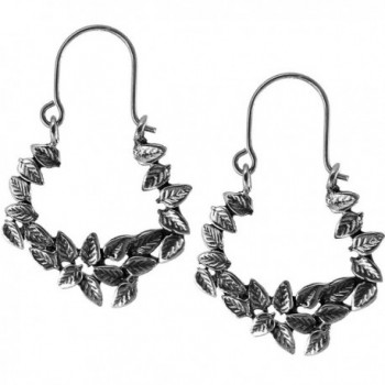 Sterling Silver Oxidized Flowers Hoop Earrings - CC120K1QEU5