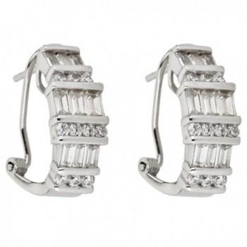 Sterling Silver Cubic Zirconia Rhodium Round&Baguette Cut Omega Fancy Hoop Earring - C012M6XSCRD