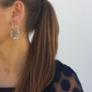 Sterling Silver Oxidized Flowers Earrings in Women's Hoop Earrings