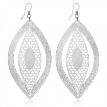 Fashion New Novelty Alloy Light Earrings Hollow Eyes Oval Shapes Leaves Long Dangle Earrings - Silver Color - C211YLPDB53