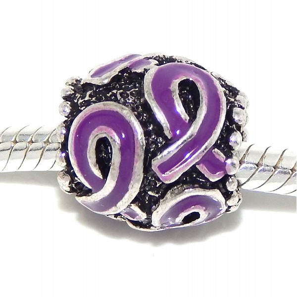 Pro Jewelry Purple Awareness Ribbon Bead Compatible with European Snake Chain Bracelets - CB17Y27I2YH