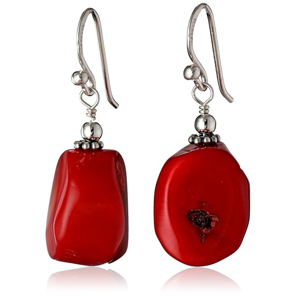 "Barse ""Basics"" Red Bamboo Coral Drop Earrings - CQ11D04AAET"