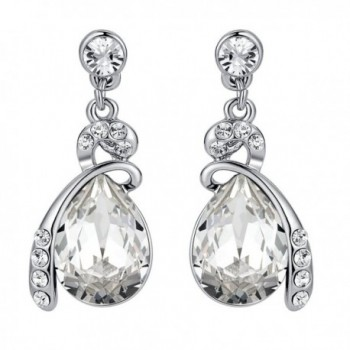 Eternal Love Teardrop Austrian Crystal Earrings Clear - CJ11ETA7LH3