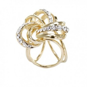OBONNIE Women Ladies Crystal Trio Scarf Ring Silk Scarf Buckle Clip Shawls Holder Brooch Slide Jewelry - Gold - CX188T2R2DH