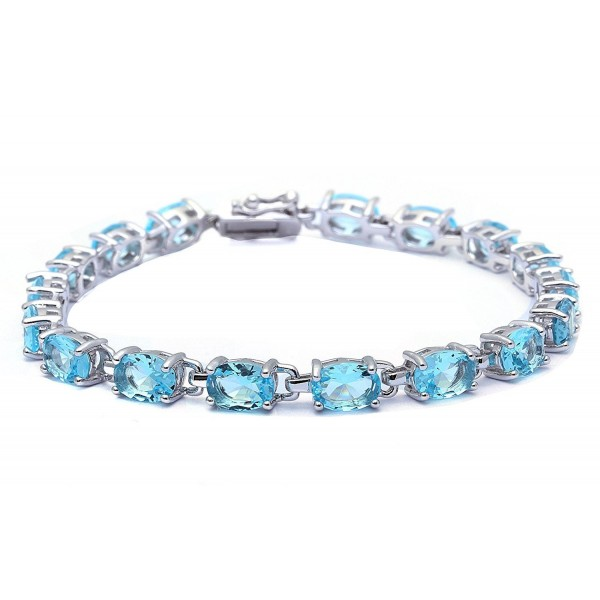 "13.5CT Oval Cut Simulated Gemstone .925 Sterling Silver Bracelet 7.25"" Long - Simulated Aquamarine - CK11RQIHHX9"