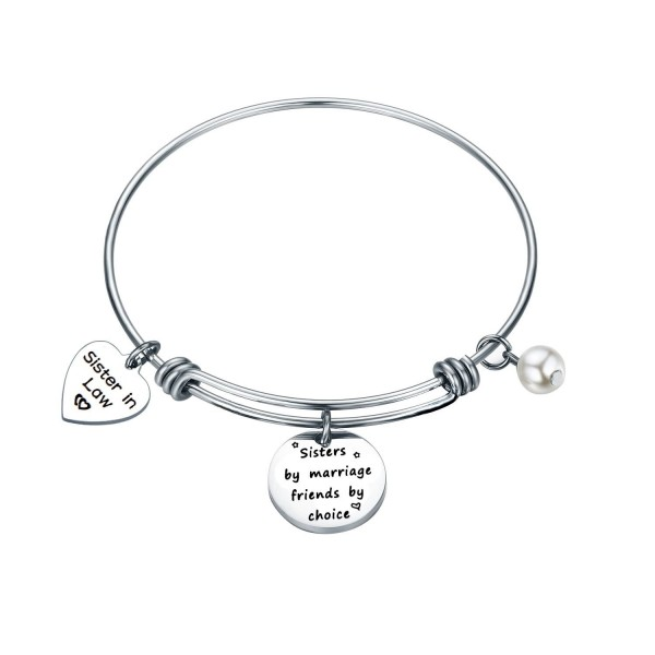 Sister in Law Gift Sister by Marriage Friend by Choice Adjustable Bangle Bracelet - sister in law bracelet - C7187CX8WAS