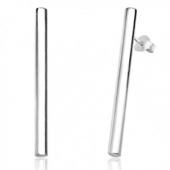 Sterling Silver Cylinder Bar Stud Earrings - C8185OG5MRK