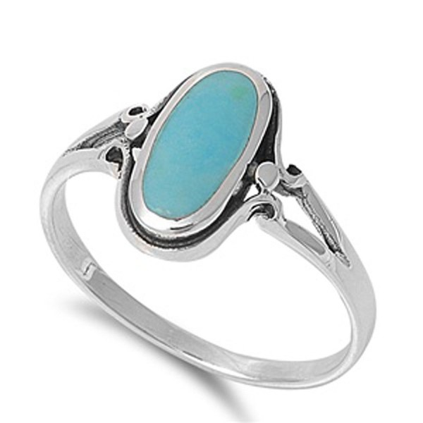 Sterling Silver Long Oval Ring - Simulated Turquoise - CP11GP3689Z